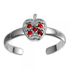 Zehenring 925 Silber Roter Zirkonia, Apfel 1