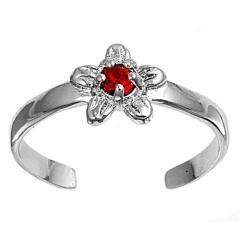 Zehenring 925 Silber Roter Zirkonia, Blume 3