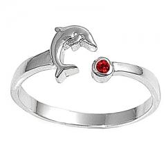 Zehenring 925 Silber Roter Zirkonia, Delfin 1