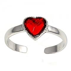 Zehenring 925 Silber Roter Zirkonia, Herz 2
