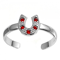 Zehenring 925 Silber Roter Zirkonia, Hufeisen 1