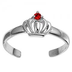 Zehenring 925 Silber Roter Zirkonia, Krone 1