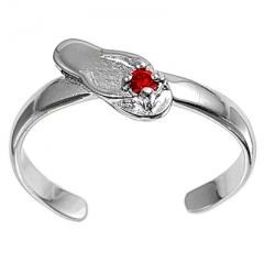 Zehenring 925 Silber Roter Zirkonia, Sandale 1