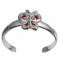 Zehenring 925 Silber Roter Zirkonia, Schmetterling 1