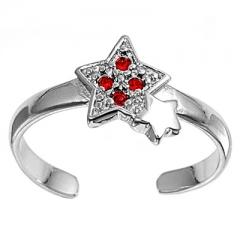 Zehenring 925 Silber Roter Zirkonia, Stern 1