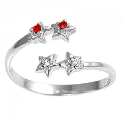 Zehenring 925 Silber Roter Zirkonia, Stern 3