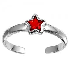 Zehenring 925 Silber Roter Zirkonia, Stern 4