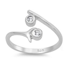 Zehenring 925 Silber Weißer Zirkonia 4
