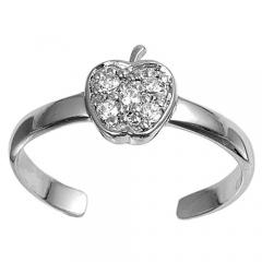 Zehenring 925 Silber Weißer Zirkonia, Apfel 1