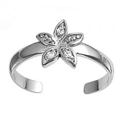 Zehenring 925 Silber Weißer Zirkonia, Blume 1