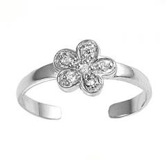 Zehenring 925 Silber Weißer Zirkonia, Blume 3
