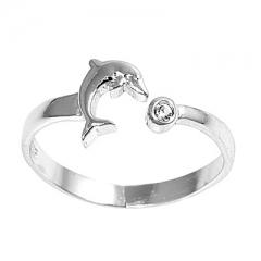 Zehenring 925 Silber Weißer Zirkonia, Delfin 1