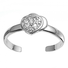 Zehenring 925 Silber Weißer Zirkonia, Herz 3