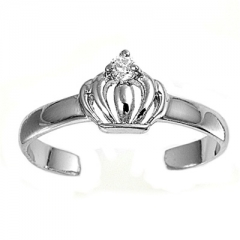 Zehenring 925 Silber Weißer Zirkonia, Krone 1