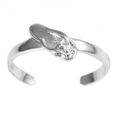 Zehenring 925 Silber Weißer Zirkonia, Sandale 1