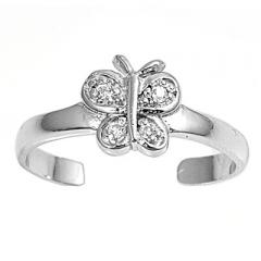 Zehenring 925 Silber Weißer Zirkonia, Schmetterling 1