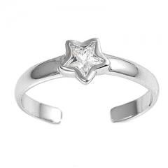 Zehenring 925 Silber Weißer Zirkonia, Stern 1