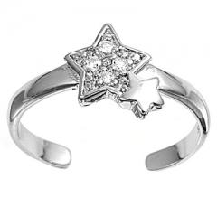 Zehenring 925 Silber Weißer Zirkonia, Stern 2