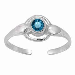 Zehenring 925 Silber Blauer Zirkonia 2