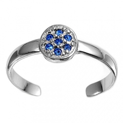 Zehenring 925 Silber Blauer Zirkonia 3