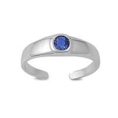 Zehenring 925 Silber Blauer Zirkonia 6