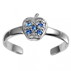 Zehenring 925 Silber Blauer Zirkonia, Apfel 1