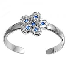 Zehenring 925 Silber Blauer Zirkonia, Blume 3