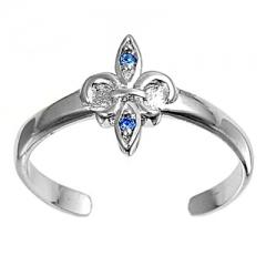 Zehenring 925 Silber Blauer Zirkonia, Fleur De Lise 1
