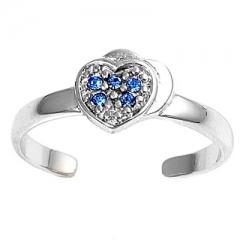 Zehenring 925 Silber Blauer Zirkonia, Herz 1