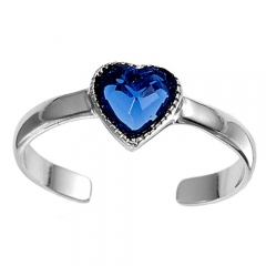 Zehenring 925 Silber Blauer Zirkonia, Herz 2