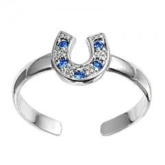 Zehenring 925 Silber Blauer Zirkonia, Hufeisen 1
