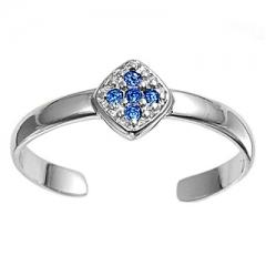 Zehenring 925 Silber Blauer Zirkonia, Kreuz 1