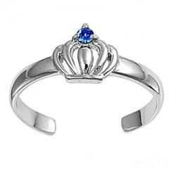 Zehenring 925 Silber Blauer Zirkonia, Krone 1