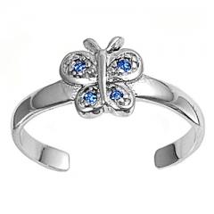 Zehenring 925 Silber Blauer Zirkonia, Schmetterling 1