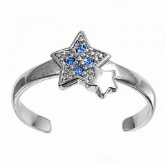 Zehenring 925 Silber Blauer Zirkonia, Stern 1