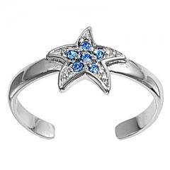 Zehenring 925 Silber Blauer Zirkonia, Stern 2