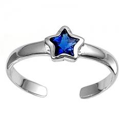 Zehenring 925 Silber Blauer Zirkonia, Stern 3