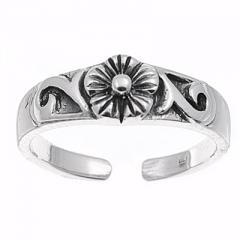 Zehenring 925 Silber Blume 10