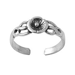 Zehenring 925 Silber Blume 4