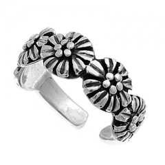 Zehenring 925 Silber Blume 5