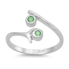 Zehenring 925 Silber Grüner Zirkonia 3