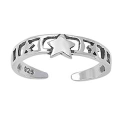 Zehenring 925 Silber Mond Stern 1