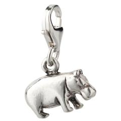 Charm / Anhänger 925 Silber Nilpferd