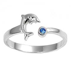 Zehenring 925 Silber Blauer Zirkonia, Delfin 1